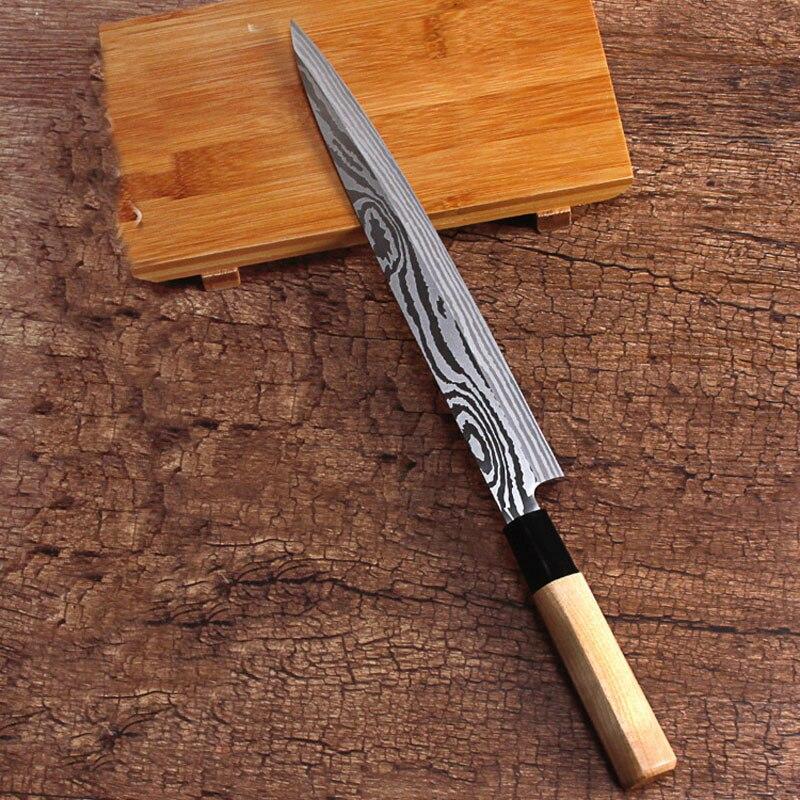 LDZ Heißer Japanischen 8-zoll küche messer sashimi sushi Lachs messer Filetieren Messer 5Cr15mov Damaskus muster stahl kochen messer