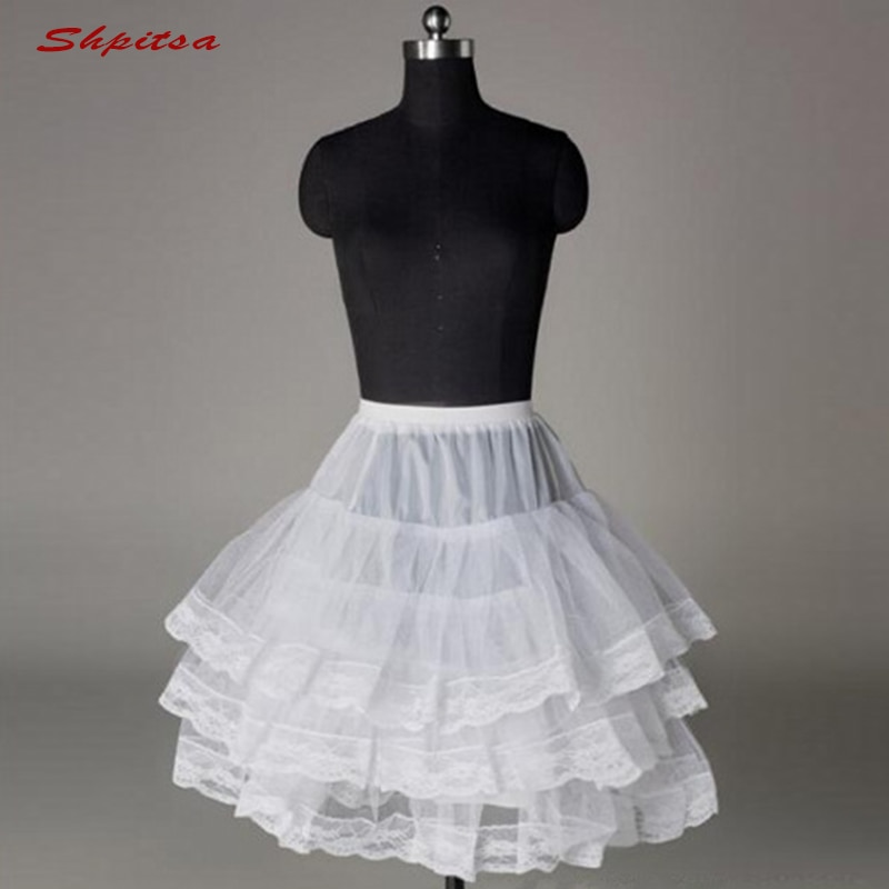 White or Black Lace Short Petticoats Girl Woman Lady lolita Rockabilly Tulle Underskirt Crinoline Pettycoat