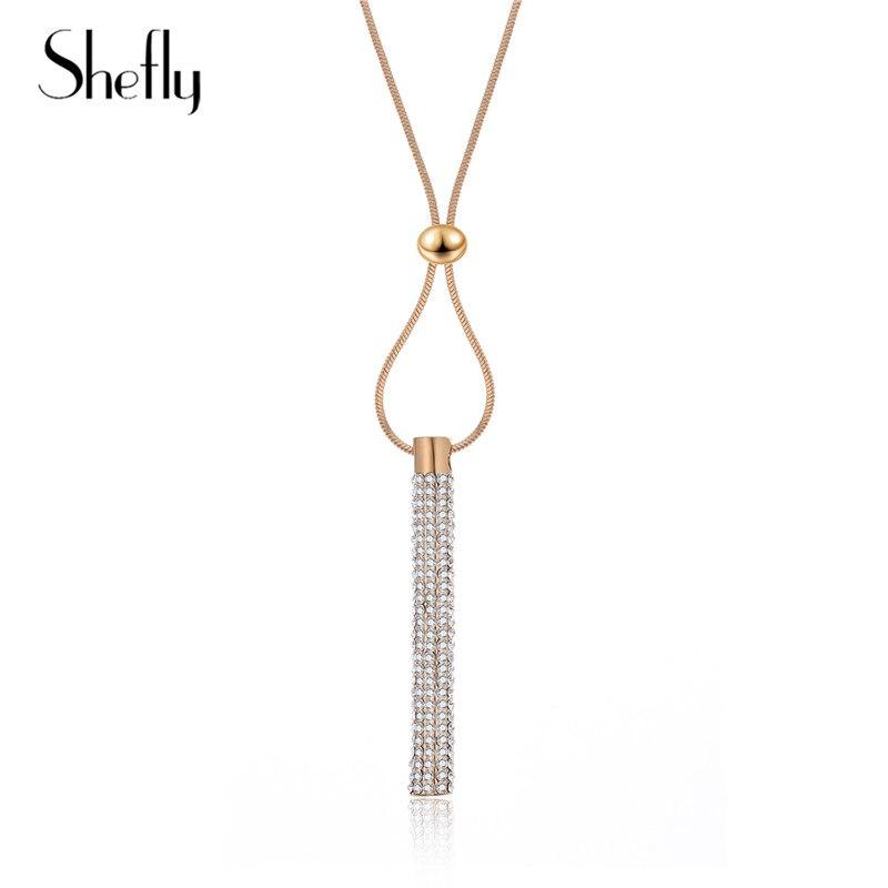 Collar con colgante de cristal brillante largo dorados de moda collar con cadena ajustable para mujer bisutería collar