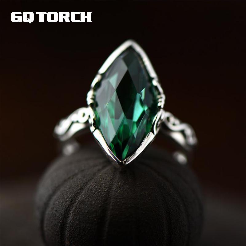 Простые элегантные изумрудные резные Кристальные кольца для женщин из серебра 925 пробы с натуральным драгоценным камнем, ювелирные украшен...