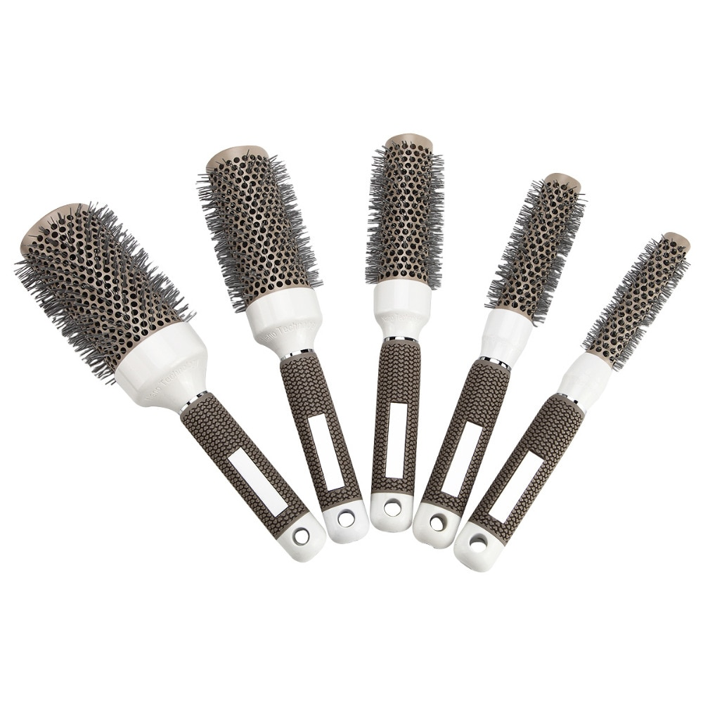 Серая Керамическая ионная расческа, термостойкие круглые гребни, железные радиальные щетки для волос, кучерявые расчески для салона волос