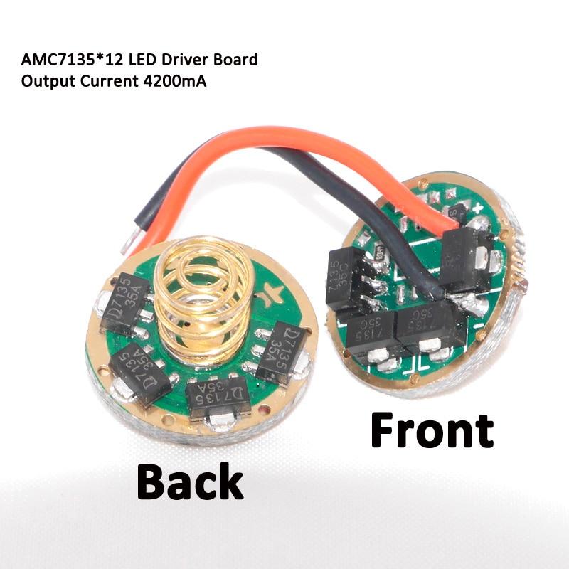 10 W T6 U2 U3 XML2 XPL V3 V2 linterna LED 3,7 v ~ 4,2 v AMC7135x8 7135x10 7135*12 placa de circuito de controlador 5 Modo 3 Modo 1 modo 17mm