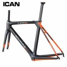 Ican Full carbon rahmen bb86 & di2 compatiable Carbon fahrrad rahmen angepasst malerei 1050g rennrad rahmen gabel AERO007