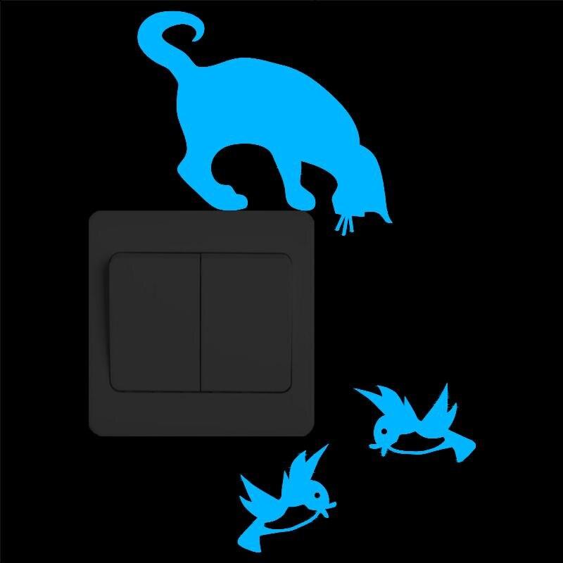 Interruptor de luz adesivo parede brilho no escuro soquete vinil decoração da sua casa engraçado dos desenhos animados gato pássaros animais adesivo crianças quartos decoração