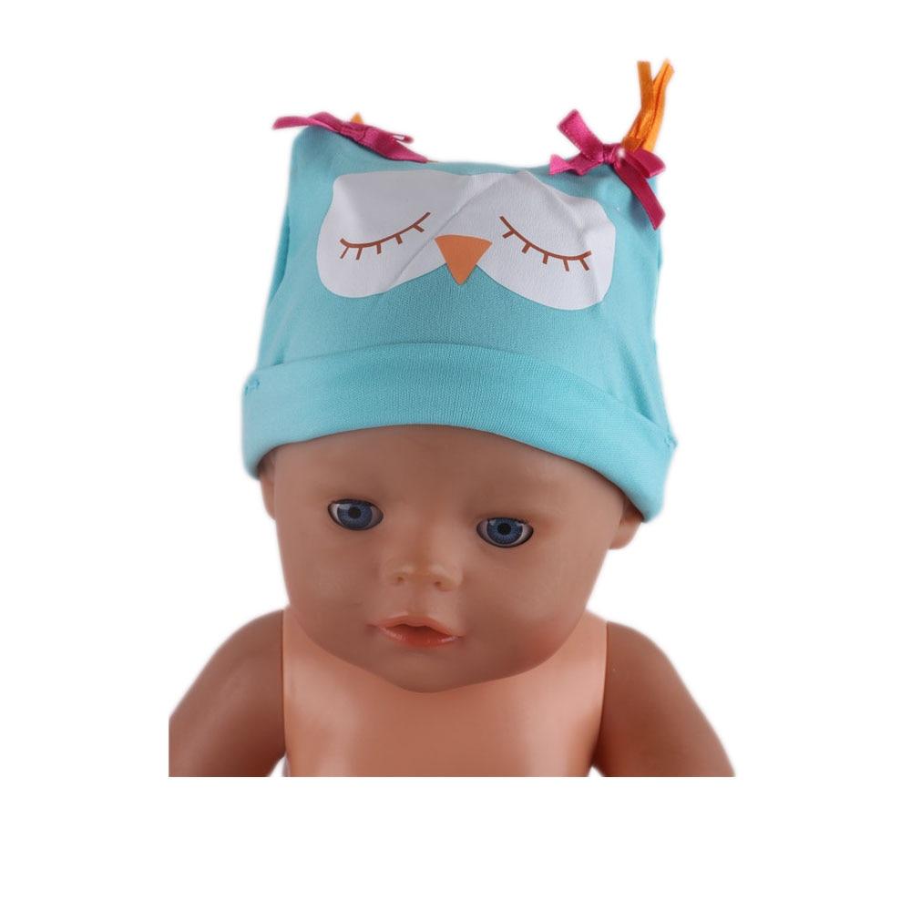 New Fashion Blue Owl Hat Wear Fit 43 Cm Born Children best Birthday Gift