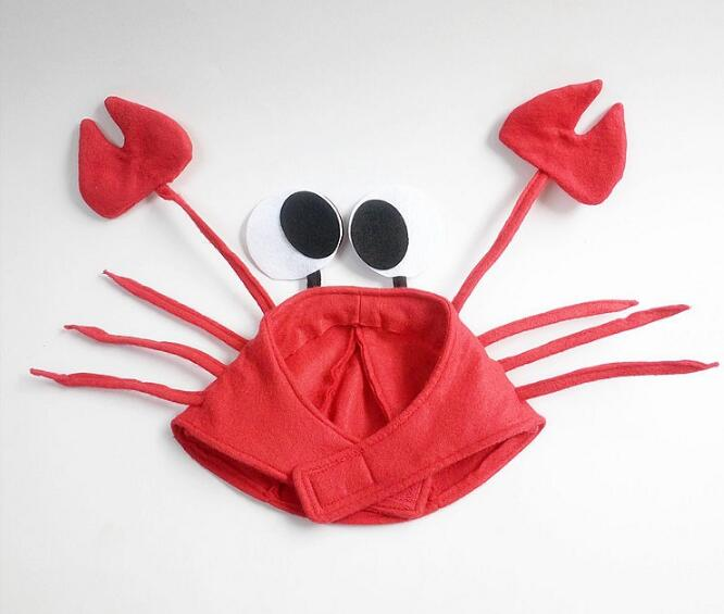 2017 New Creative Red Crayfish Crab Hat Caps Performance Cosplay Props For Kids Adults Christmas Halloween Dance Party Hat
