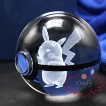 Neue Mode Pokemon Gehen Snap Nette Pikachu 3D Kristall Glas Ball figiure Geschenke