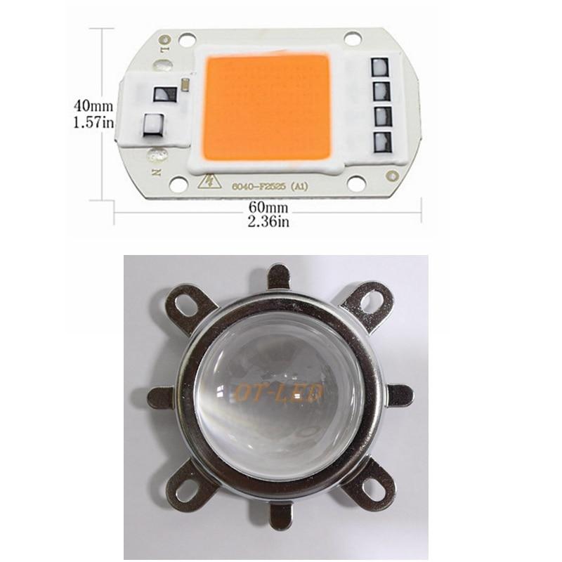 1 комплект гидропоники AC 220V 50w led grow chip полный спектр 380nm-840nm + 44 мм 60 градусов объектив для внутреннего led grow light