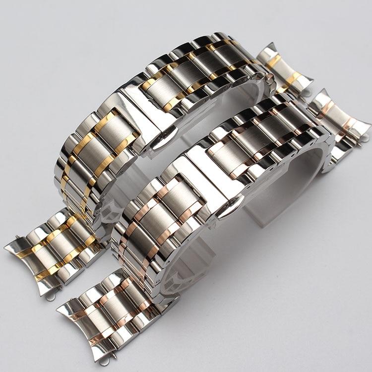 Curvas de Prata Acessórios de Moda da Cor do Ouro Pulseira de 18mm Metal Pulseira Extremidades Rosegold Relógios Homens 19mm 20mm 21mm New &
