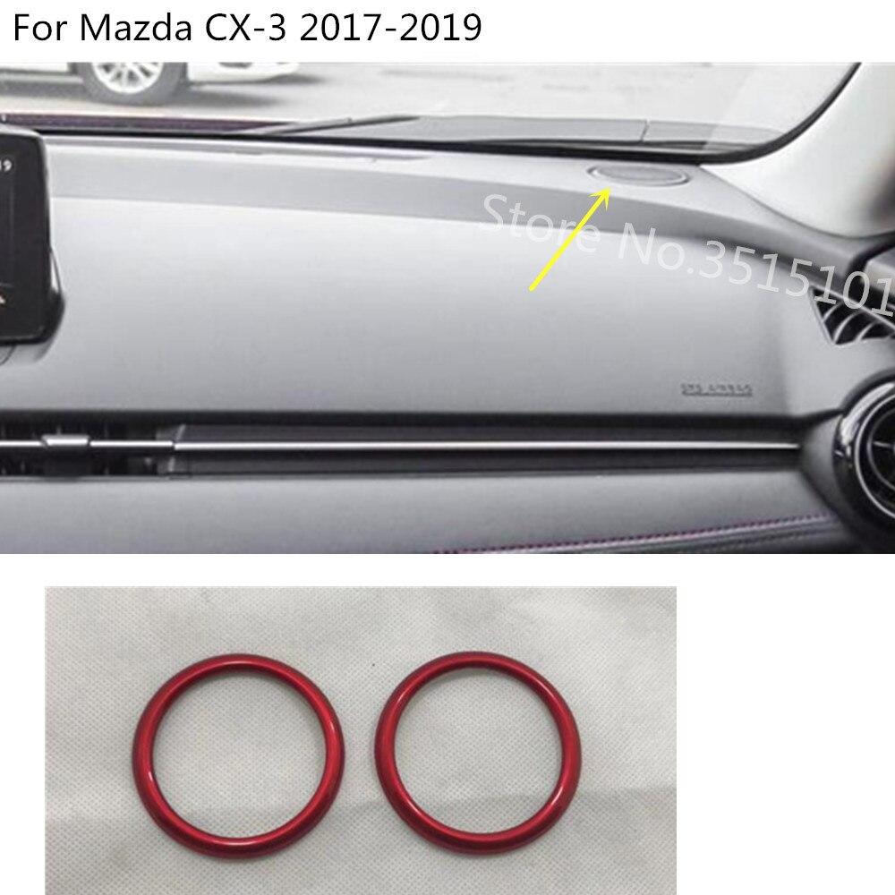 Interior del coche audio habla sonido frontal interior salpicadero embellecedores cubierta superior anillo círculo embellecedor para Mazda CX-3 CX3 2017 2018 2019 2020