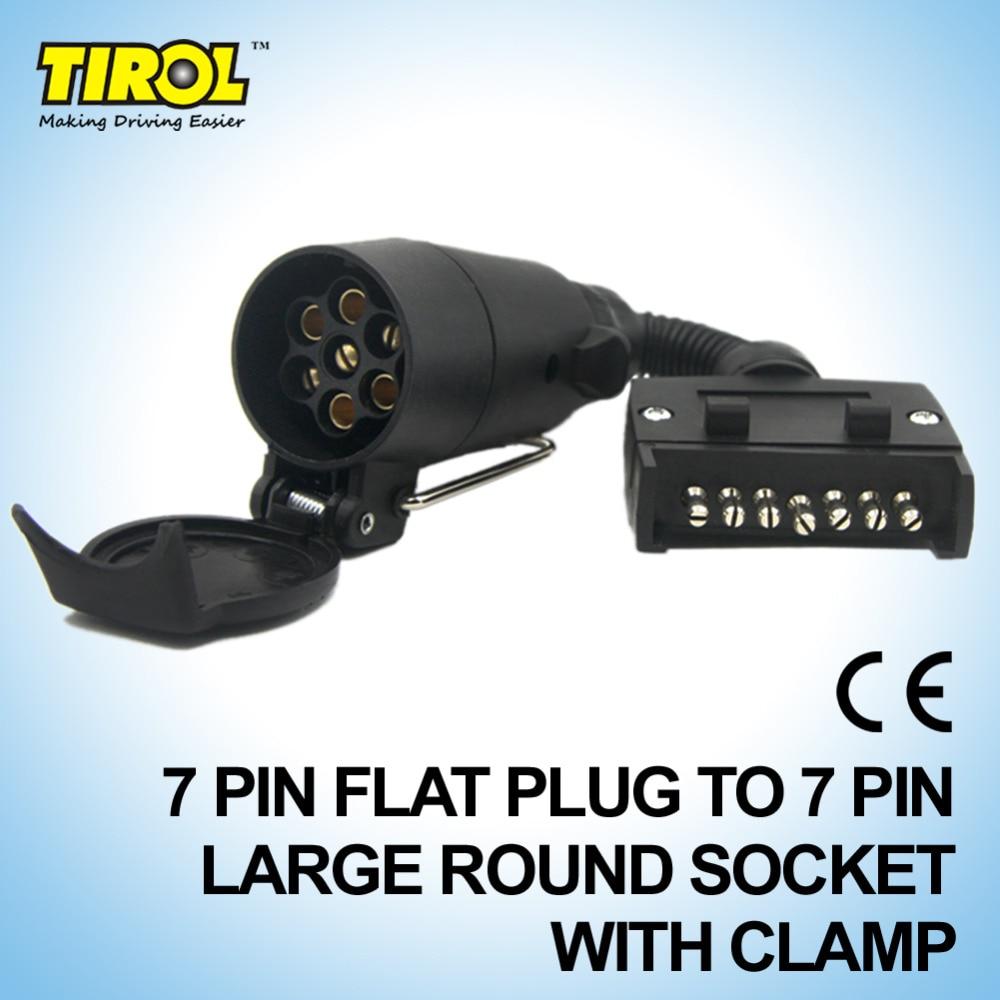 TIROL T21616b 7 Pin Stecker ConnectorTrailer Boot Lkw Teile Stecker Adapter 7 Pin Flache Stecker zu 7 Pin Große Buchse mit Clamp