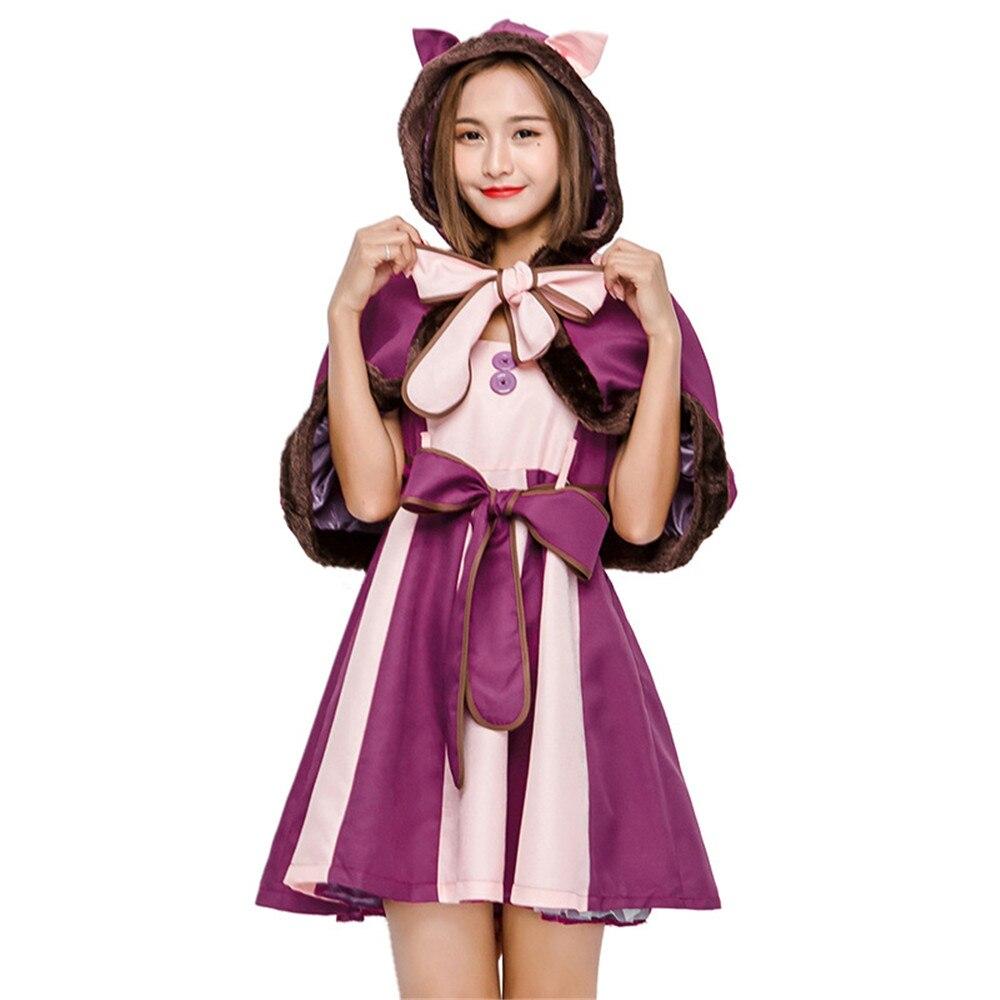 Hot Traje de Alice No País Das Maravilhas Cheshire Cat Cosplay Fantasia Vestido de Trajes de Halloween Para As Mulheres Do Partido Alice Traje conjunto completo