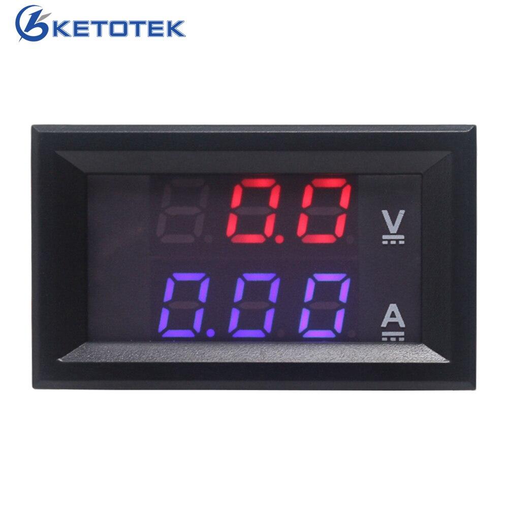 DC 0-100 в/10A цифровой светодиодный красный синий дисплей Амперметр Вольтметр автомобильный Ампер Вольтметр питание от DC 4,5-30 в