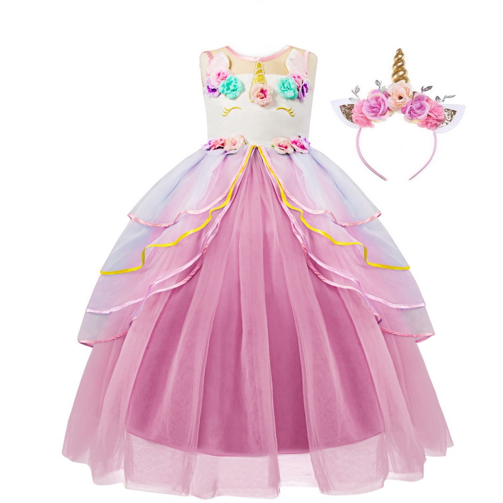 Disfraz de Unicornio para Niñas Grandes, Disfraz de Unicornio con diadema de flores, tutú, para Navidad, boda y fiesta