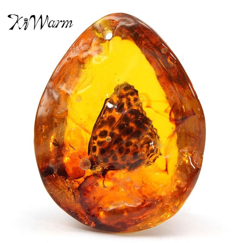 KiWarm, хит продаж, 5*4 см, красивая Янтарная бабочка, насекомые, камень, подвеска, ожерелье, драгоценный камень для DIY ювелирных изделий, подвеска, поделки