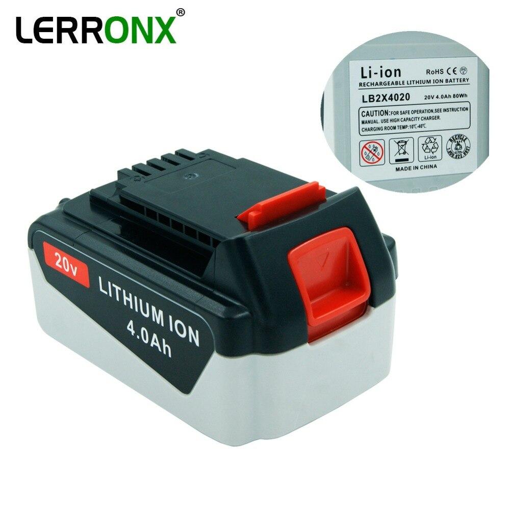 Batterie rechargeable de remplacement au Lithium LERRONX 20V 4000mAh pour outils électriques Black Decker Li ion LB2X4020 LB20 LBX20 LBXR20