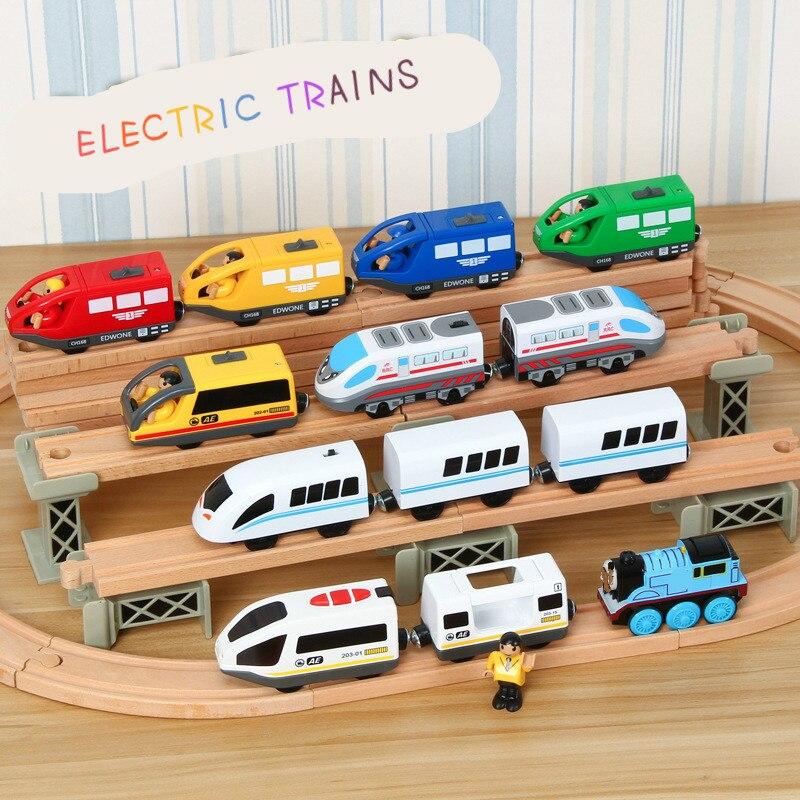 Edwone todos os tipos de trem elétrico magnético carro trilha ferroviária acessórios educativos diy brinquedo original presentes para crianças