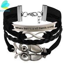 Boniskiss nouvelle mode alliage infini hibou PU cuir Bracelets multicouches tisse Bracelets bijoux pour femmes cadeau