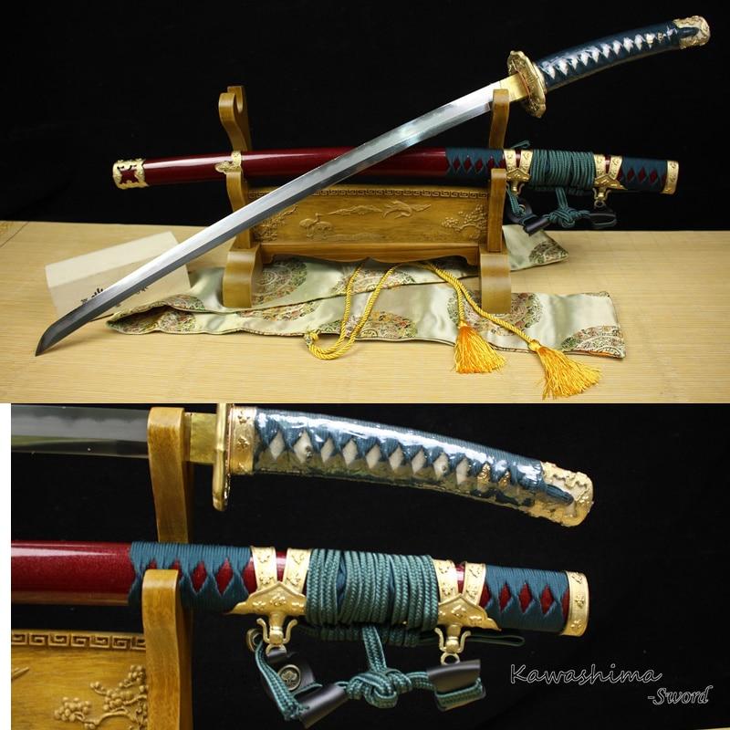 Calidad Tachi, espada acero plegado japonés hecho a mano, arcilla de laminación Sanmai, hamón templado Real, vaina roja oscura, cuerda verde