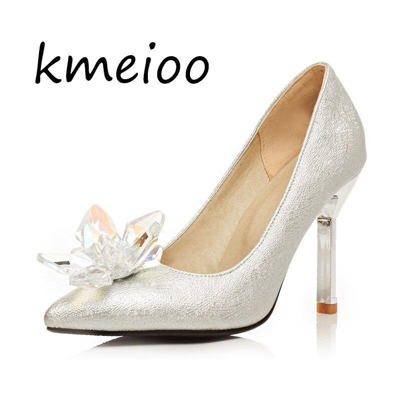 Nuevos zapatos de cristal de Cenicienta zapatos de boda de diamantes de imitación de plata tacones altos de novia zapatos de boda zapatos individuales.