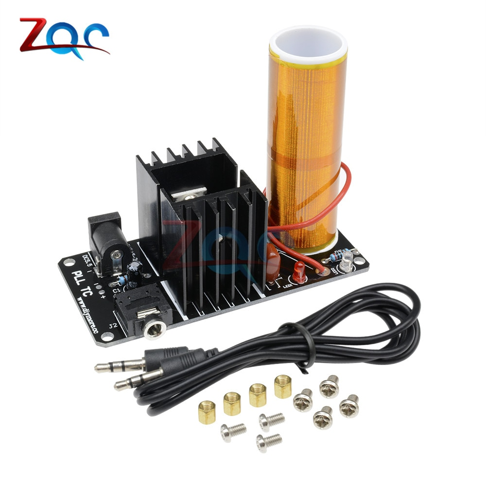 Mini música altavoz de plasma de bobina de Tesla generador de arco resonante transmisión inalámbrica DC 15 V-24 V 15W Stereo Assemed terminado