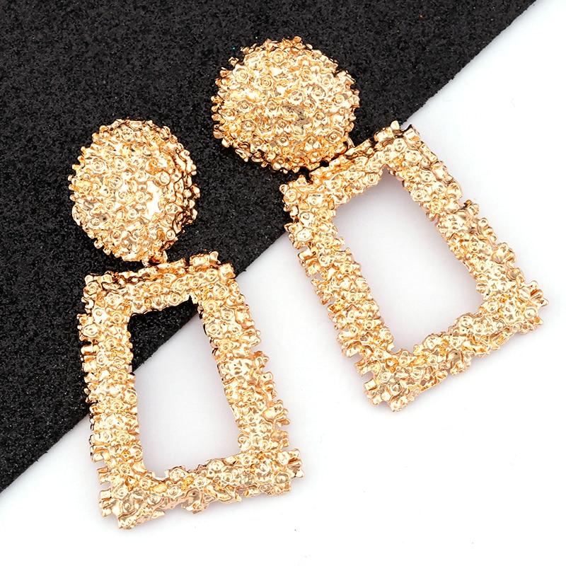 aliexpress - AENSOA Vintage Big Metal Drop Dangle Earrings For Women Geometric Wedding Party Jewelry Gold Large Statement Earrings 6 Colors