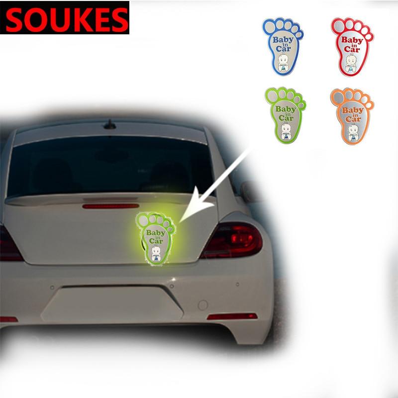 3D Aluminum Baby In Car Reflective Warning Sticker For Opel Insigina Vectra Toyota Corolla RAV4 Avensis CHR Nissan Juke Suzuki