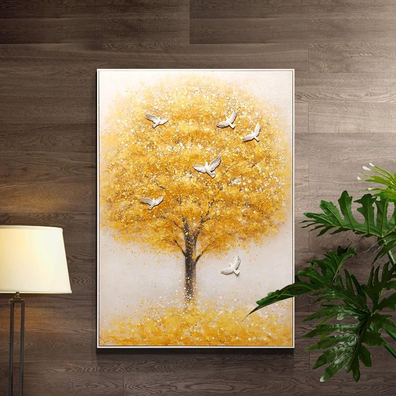 Bordado, punto de cruz DIY, juegos para bordado completo kit dorado deseo árbol pájaros paloma estampado patrón decoración de pared para bodas