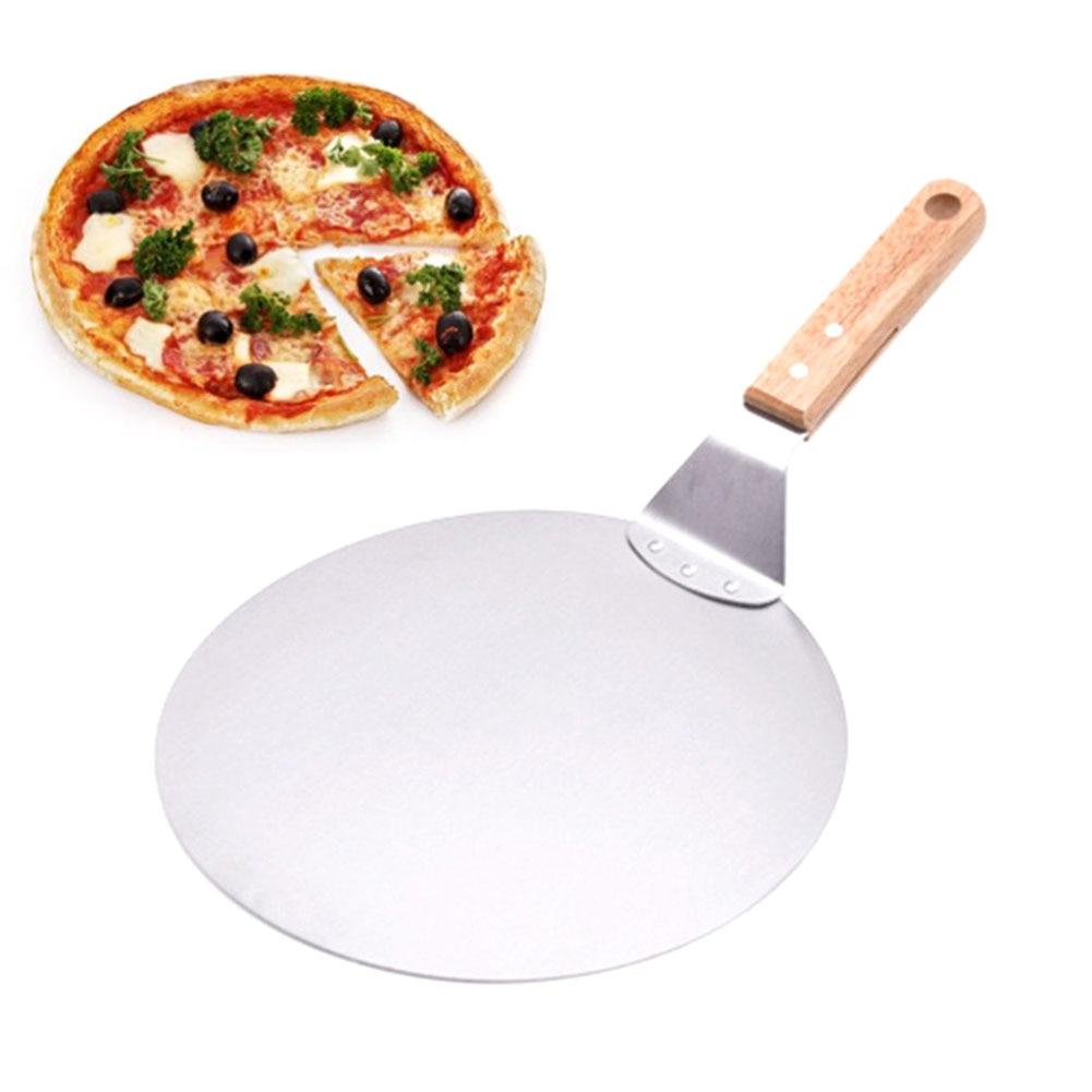 Полезная Лопата для пиццы из нержавеющей стали с деревянной ручкой, лопата для торта, инструменты для выпечки, лопатки для пиццы FBE3