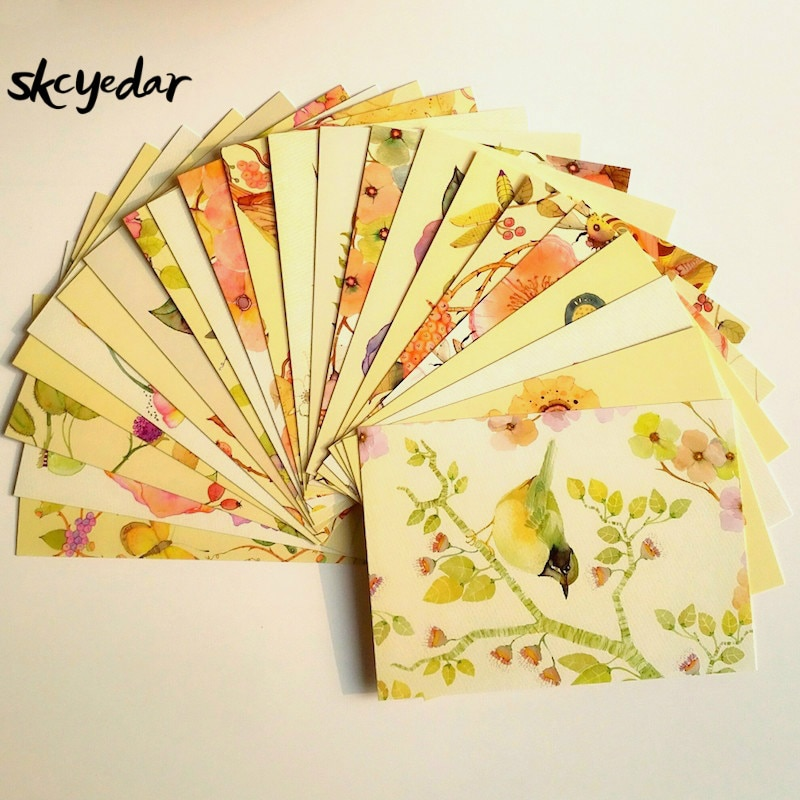 22-pcs-bello-kawaii-pittura-ad-acquerello-cartoline-fiori-e-uccelli-cartoline