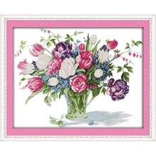 Vase tulipe amour éternel (4)   kits chinois point de croix, coton écologique clair estampillé, imprimé, décoration bricolage de noël 11CT