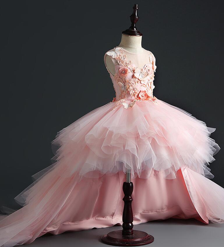 Glizt, vestidos de niña con flores para fiesta de boda, vestido de princesa con cola de tul rosa, vestido Floral con cuentas para desfile de niña, vestido de primera comunión