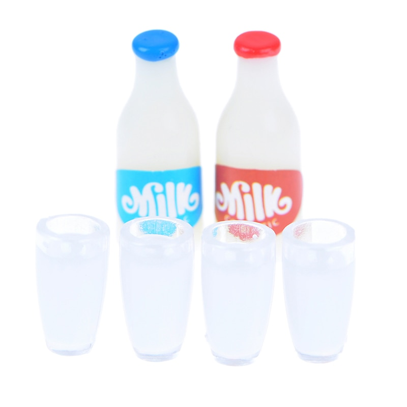 Nuevos 2 uds botellas de leche + 4 Uds taza de leche desayuno 112 Comida en miniatura casa de muñecas accesorios de cocina