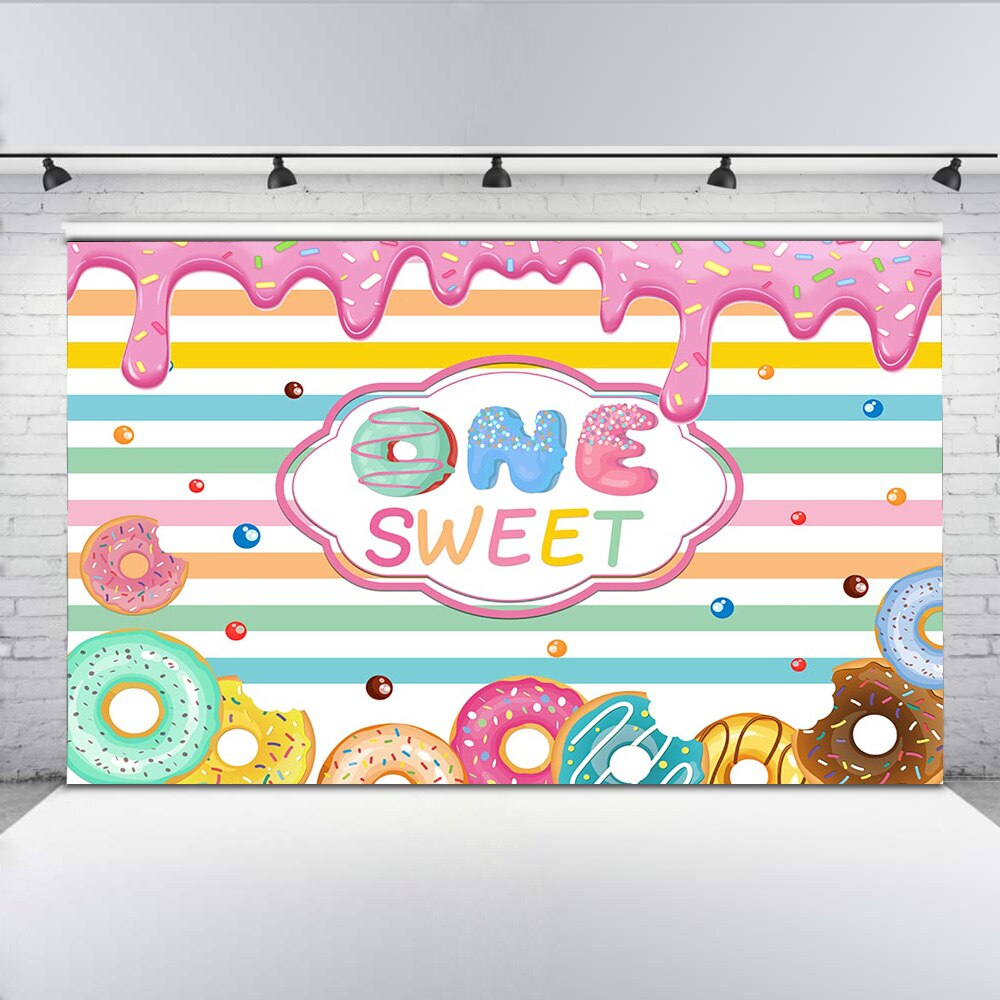 MEHOFOTO One Birthday Party Background Sweet Donut Photography Backdrops for Girls Colorful Stripes Baby Props Photo Studio