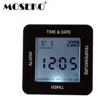 Mosekoデスククロック四側デジタル回転させる目覚まし時計多機能タイマーカレンダー温度bedsides寝室テーブル時計