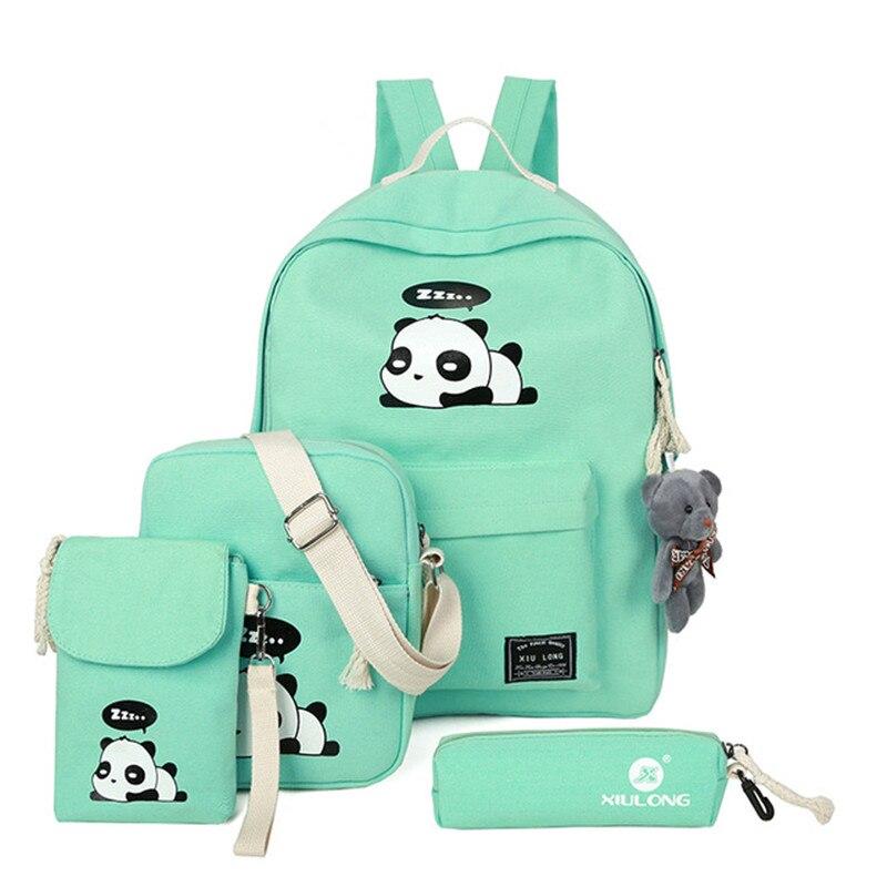 Mochilas reforçadas de lona dos desenhos animados, panda, 4, peças/set, feminina, bolsas escolares de alta qualidade para adolescentes
