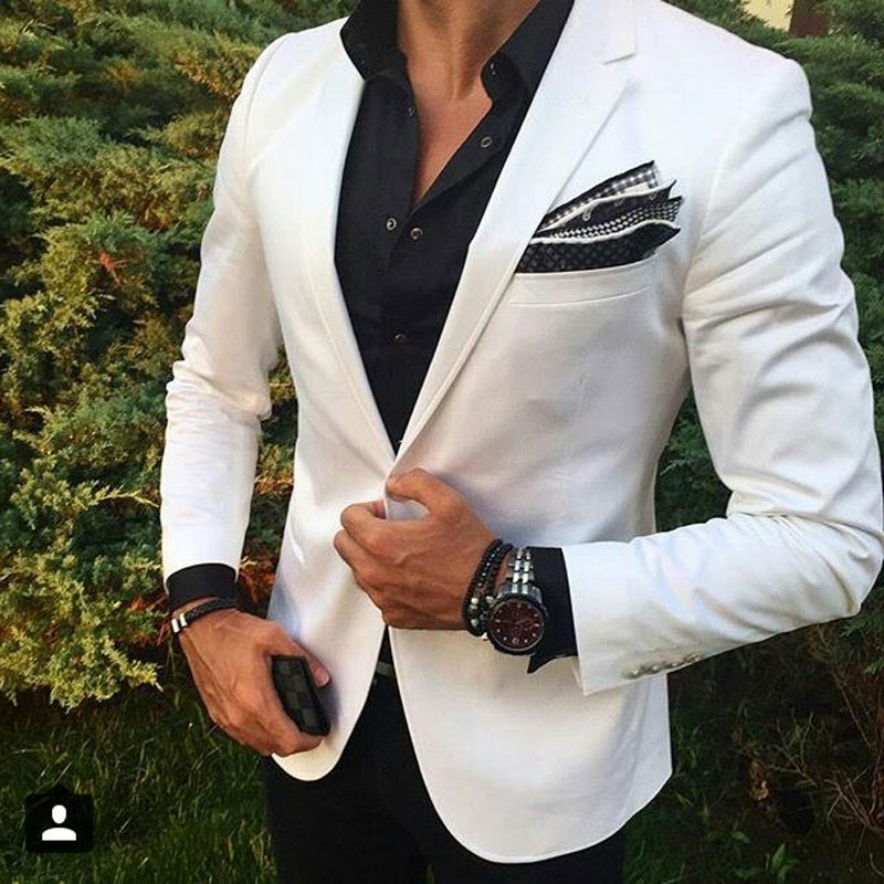Blanco Hombre playa boda trajes novio boda traje esmoquin padrino Blazers chaqueta ajustado ajuste Terno Masculino 2 piezas abrigo Pantalones