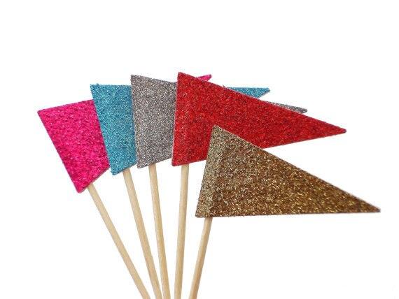 Brillo banderín banderas Cupcake Toppers cumpleaños Boda nupcial ducha pastel decoración de comida selecciones fiesta despedida de soltera decoraciones