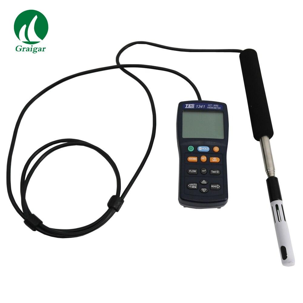 TES-1341 الساخن سلك مقياس شدة الريح TES 1341 الساخن سلك مقياس شدة الريح الحرارية TES1341 HVAC الهواء تدفق الهواء سرعة تستر USB نوع صريحة سريع