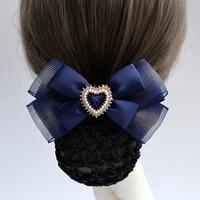 korean head flower sweet hair jewelry satin hair clip cover net tulle curling bowknot bun snood women hair accessories