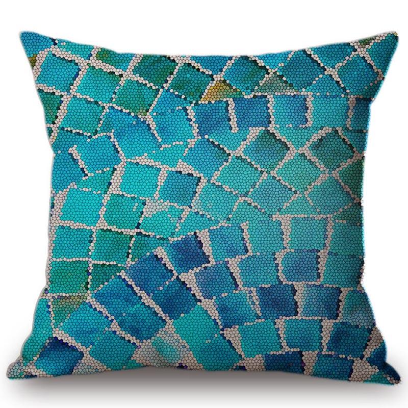 Декоративная подушка из хлопка и льна голубого и зеленого цвета с мозаикой для дома, геометрические кубики, чехол для дивана и стула, подушк...