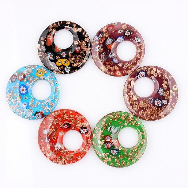 QianBei الأزياء الجملة 6 قطعة اليدوية مورانو الزجاج مزيج اللون 3D زهرة جولة المعلقات صالح قلادة الساخن
