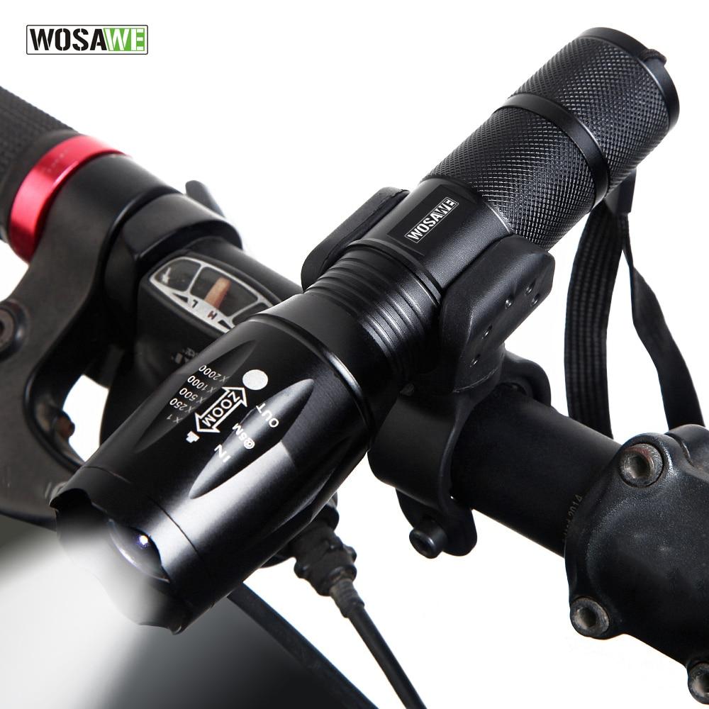 WOSAWE T6 luz LED de bicicleta linterna frontal impermeable bicicleta linterna 1000 lúmenes 5 modos soporte de la antorcha 18650 batería