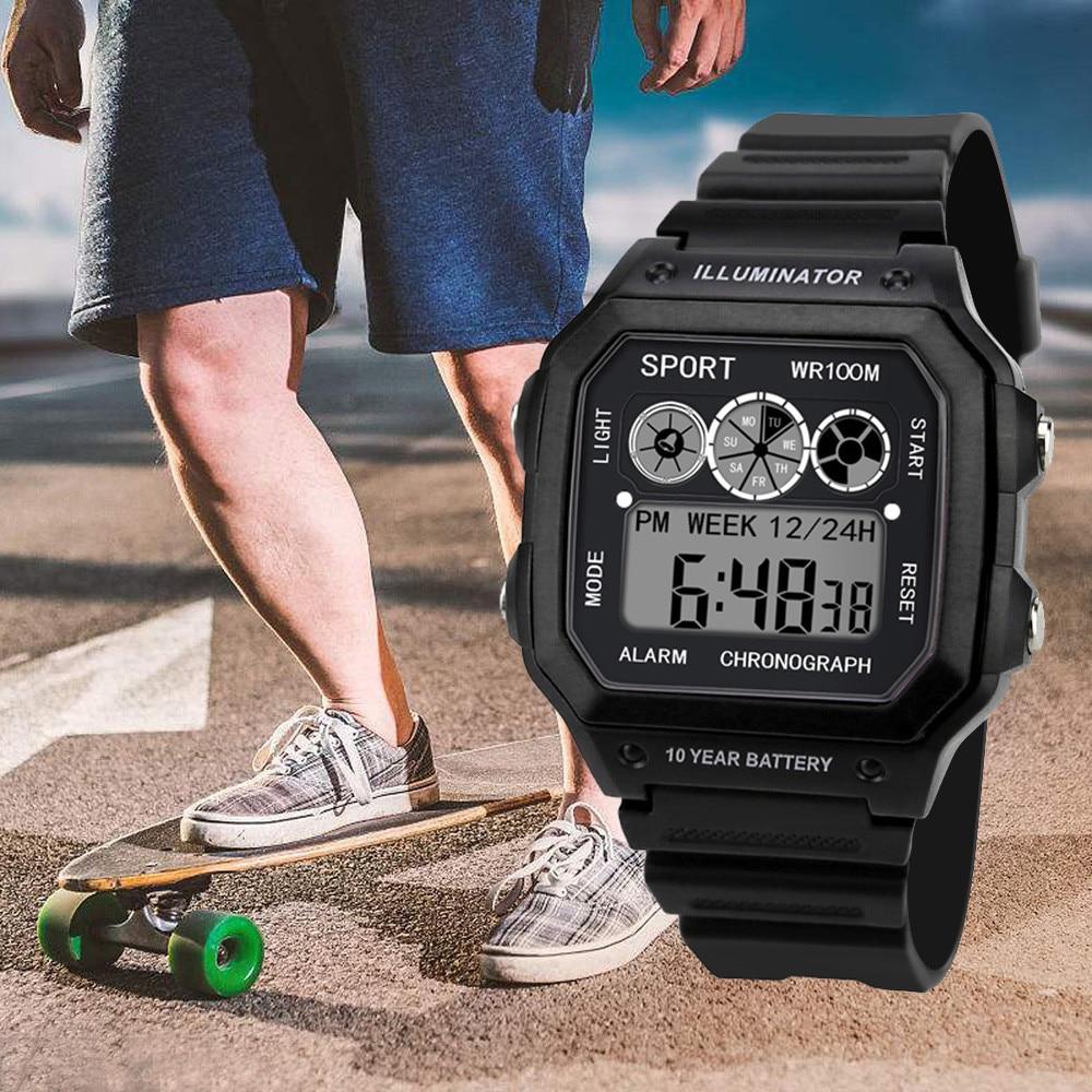 Reloj Digital analógico de lujo de gama alta para hombre, reloj de pulsera LED cuadrado deportivo militar para hombre, reloj electrónico resistente al agua de 50 metros # S
