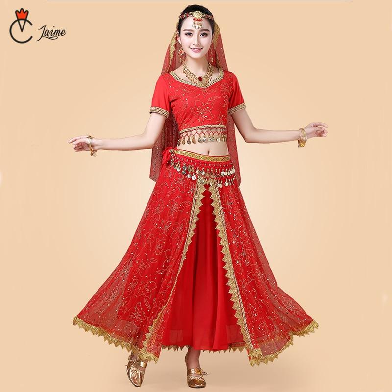 Индийские Танцевальные Костюмы Болливуд платье сари Одежда для танцев женский/детский набор костюма для танца живота 7 шт.