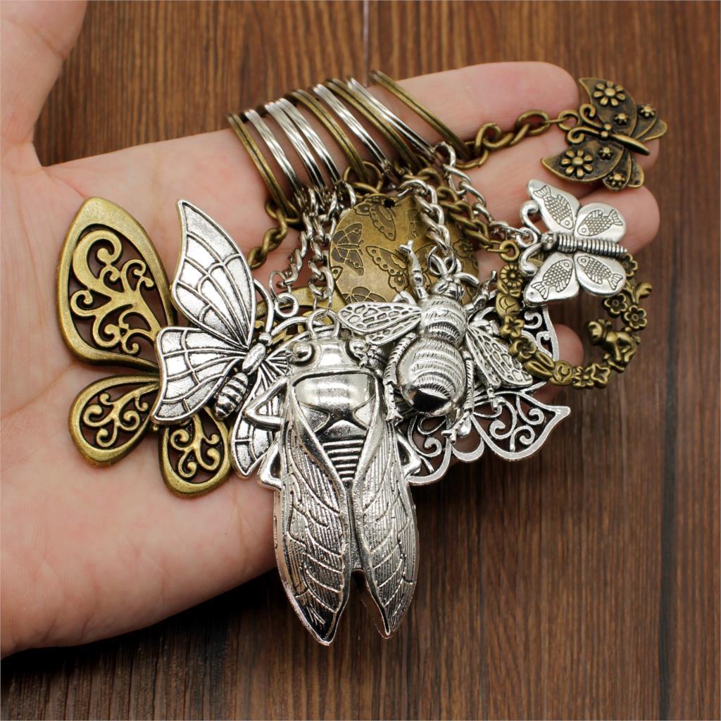 Hot Sale New Metal Keychain Butterfly Keychain Bee Keychain Car Key Chain Accessories Handmade Cute Gifts