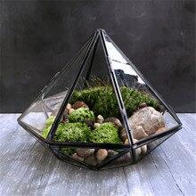 Terrarium de verre suspendu en forme de diamant   Terrarium de soudure en verre géométrique noir, tyrans locaux, mousse de plantes