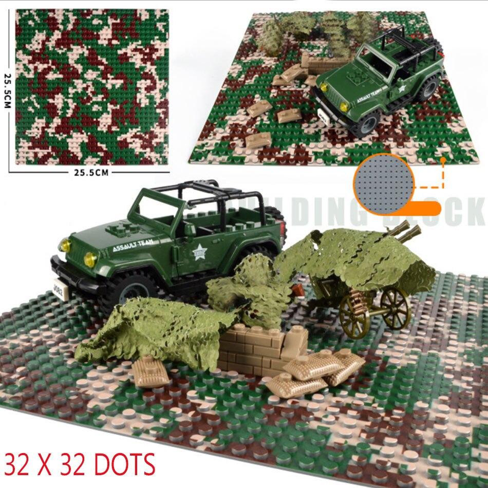 Figuras de soldados de bloques de construcción DIY, placa Base de camuflaje militar de 32*32 puntos, piezas de placa Base para el ejército ww2