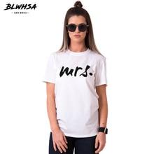 BLWHSA Lovers Couple T shirt Summer Fashion Printing Mrs Hipster Fashion Black Tops Students Apparel
