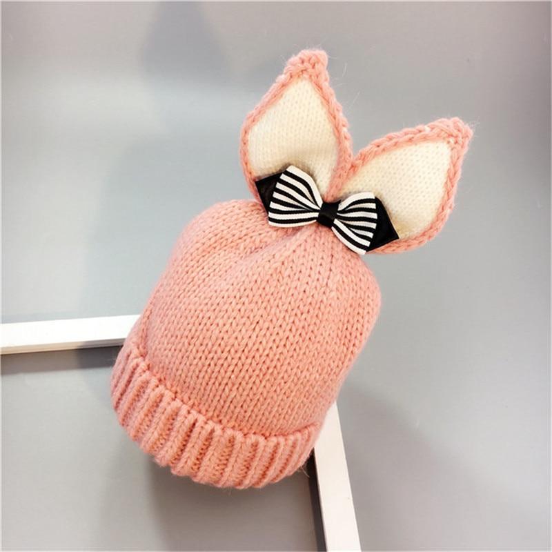 Winter cap Rabbit Ears Knit beanie Hat Girls Boys Children Warm Caps Baby Bonnet Enfant Knitted Cute Hat for Girl Boy gorro
